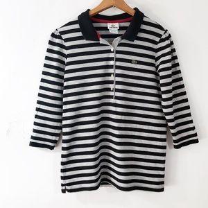 [Lacoste] Gray/Black Striped Polo Size 44